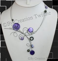 purple necklace, unique handmade, bridal jewelry,funky necklace, bridesmaids gift , mothers days gifts, delicate jewelry, wedding jewelry