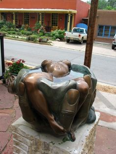 #Bronze #sculpture by #sculptor Edward Fleming titled: 'Gaia`s Daughter (Small Naked Bathing Girl Water Feature)'. #EdwardFleming