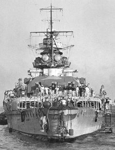 December 17, 1939: Admiral Graf Spee at anchor at Montevideo, Uruguay just before departing.