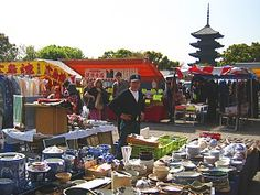 Shrine antique market in Kyoto, Japan (To-Ji markets are held on the 21st of every month --- wonderful 'finds' here!)