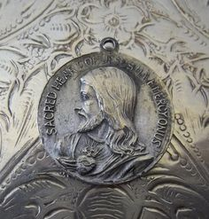 Antique Religious Medal Our Lady Of The Rosary Of Fatima Blessed Virgin Mary & Sacred Heart Of Jesus, Catholic Patron Saint Vintage Jewelry