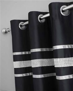 Black and Silver Curtains | BLACK & SILVER DIAMANTE BLING BEDDING SUPER-KING DUVET SET AND/OR ...