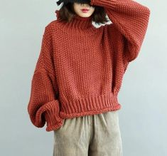 women-red-sweaters-Loose-fitting-high-neck-knitted-blouses-casual-fall-blouse - 2019 plus size casual tops Cable Sweater, Loose Sweater, Cotton Sweater, Winter Sweaters, Red Sweaters, Sweaters For Women, Pull Torsadé, Plus Size Sweaters, Mode Inspiration