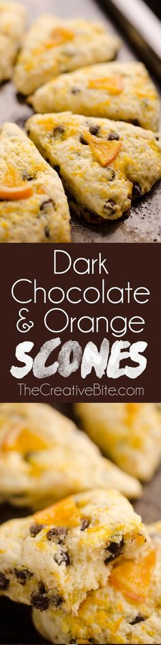 Dark Chocolate & Orange Scones are soft and tender cake-like treats with a bright citrus flavor paired with rich dark chocolate. Whether you serve them for breakfast, brunch or dessert, they are sure (Chocolate Orange) Brunch Recipes, Bread Recipes, Baking Recipes, Breakfast Recipes, Scone Recipes, Breakfast Scones, Cookie Recipes, Dark Chocolate Orange, Chocolate Orange Cookies