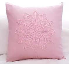 Pink Pillow Cover with Crochet Doily Decorative Designer Pillow Cover 16x16, Throw Pillow Cushion Covers. $21.00, via Etsy.