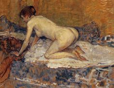 """""""Crouching Woman with Red Hair"""", Oil by Henri De Toulouse Lautrec (1864-1901, France)"""