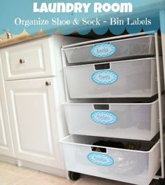Best Organization Tips for the Home - Organize your laundry room with bin labels -  http://thegardeningcook.com/best-organization-tips/