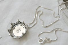 Petite Initial Necklace, 925 sterling silver chain, crown, custom, personalized letter A B C D E F G H I J K L M N O P R S T U V W X Y Z