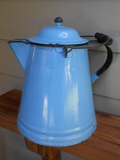 RESERVED. Large Rustic Farmhouse Blue Enamelware Coffee Pot