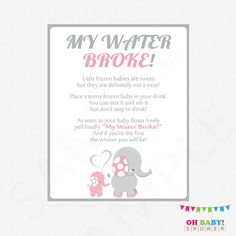 Elephant Baby Shower, My Water Broke Baby Shower Game, Printable Baby  Shower Games, Pink And Gray, Frozen Baby Game, Download, EL0005 LP