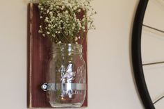♡ Simple. Rustic. Elegant.♡ These beautiful Rustic Mason Jar Sconces will brighten up any room! This listing is for ONE sconce, in the color of