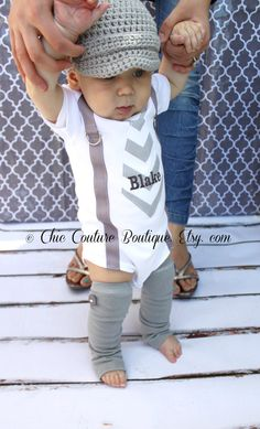 Father's Day Tie and Suspenders Personalized Baby Boy Bodysuit & Leg Warmers SET. Gray Chevron or any tie.  1 Birthday Outfit Cake Smash