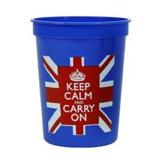 Plastic Cups Union Jack w/ Keep Calm and Carry On Set of Ten