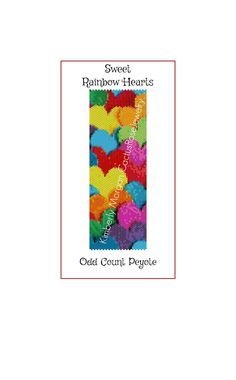 Sweet Rainbow Hearts Odd Count Peyote Instant Download PDF by CactusRoseJewelry on Etsy