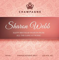 Wine and champagne online. Personalised champagne, mixed cases, wedding service, wine vouchers and delivery to Ireland. Happy Birthday Sharon, Pink Roses, Champagne, Wine, Rose