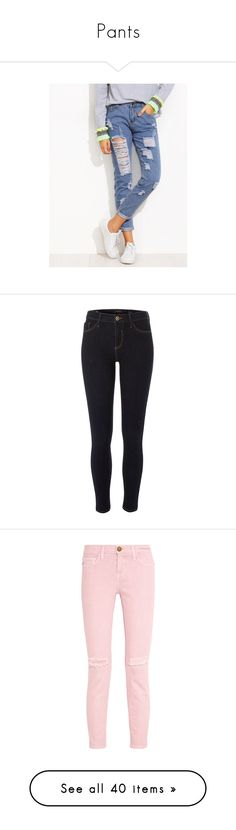 """""""Pants"""" by mercytiffany ❤ liked on Polyvore featuring jeans, blue, destructed jeans, white torn jeans, ripped tapered jeans, distressed jeans, long jeans, pants, leggings and bottoms"""