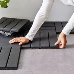 Outdoor Deck Decorating, Patio Flooring, Ikea Outdoor Flooring, Apartment Balconies, Condo Balcony, Apartments, Camper Makeover, Small Patio, Backyard Patio