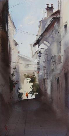 Ilya Ibryaev     workshop in Cannes - plein Air - watercolor - 53х30 cm-