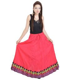 Buy Rajasthani Pink Cotton Long Lehanga skirt online