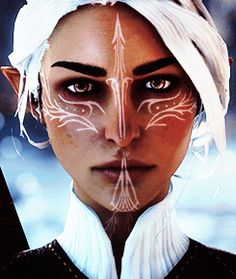 Dragon age inquisition. Another amazing Lavellan design!! Her vallaslin is so beautiful.