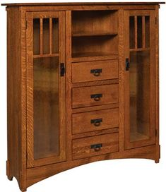 The Mission Display Bookcase with Seedy Glass and Drawers is built by Amish furniture craftsmen. Visit Weaver Furniture Sales to see more custom wood bookcases.