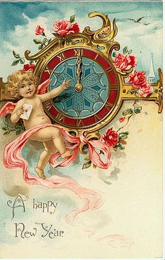 A Happy New Year ~ vintage holiday card with cherub and clock Vintage Happy New Year, Happy New Year 2015, Happy New Year Cards, New Year Greeting Cards, New Year Wishes, New Year 2014, New Year Greetings, Vintage Greeting Cards, Vintage Christmas Cards