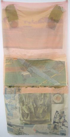 cacaotree:  ROBERT RAUSCHENBERG SCRAPE (HOARFROST EDITIONS)197476 X 36 INCHESOFFSET LITHOGRAPH TRANSFERRED TOCOLLAGE OF PAPER BAGS AND FABRIC