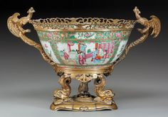 CHINESE PORCELAIN ROSE MEDALLION PUNCH BOWL WITH GILT BRONZE MOUNTS, 19th Century.