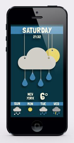 weather app design - Catherine Cooksley I like simplicity and childish look. It's fun and refreshing.
