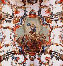 Barroco no Brasil –Mestre Ataíde: Detalhe da Ascensão de Cristo, teto da Matriz de Santo Antônio em Santa Bárbara