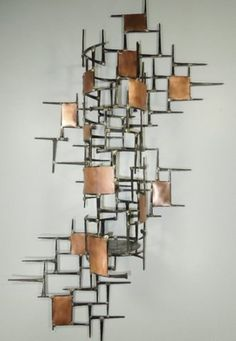 Large Welded Metal Wall SculptureCandle Holder Copper by autodor, $160.00