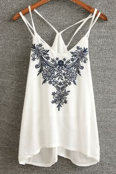 Retro Embroidery Spaghetti Strap Tank Top