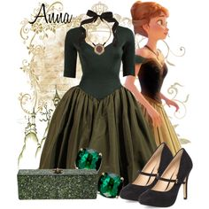 """Anna Frozen"" Are you kidding me? I am dying right now! (And maybe a place to wear it) :) Estilo Disney, School Looks, Disney Dress Up, Disney Prom, Disneybound Outfits, Disney Inspired Fashion, Disney Fashion, Disney Themed Outfits, Character Inspired Outfits"