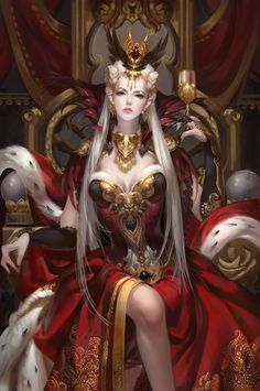 A beautiful, white haired queen on a throne surrounded in red and gold…