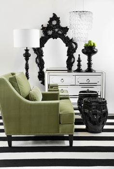 A splash of apple green to a fresh black and white room is an electrifying color combination.
