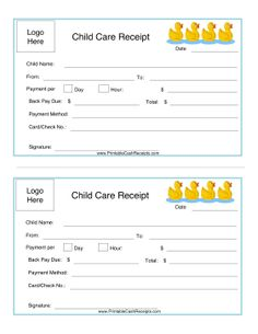 ReceiptForYearEndDaycareServices  Daycare Printables