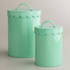 Mint Vintage Scalloped Top Canisters