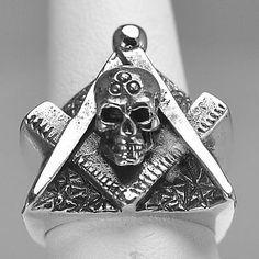 New Real Sterling Silver Heavy Free Mason Masonic Ring Skull Jewelry Freemasonry | eBay