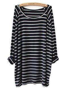 Navy White Striped Long Sleeve T-Shirt