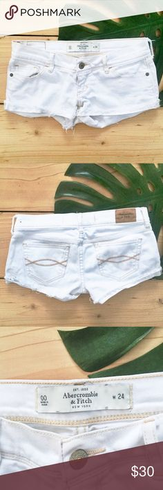 A&F White Cutoff Denim Shorts A&F White Denim Cutoff Shorts in size 24. Perfect condition, no signs of wear! Abercrombie & Fitch Shorts Jean Shorts