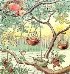 Elsa Beskow: Woody, Hazel, and Little Pip Elsa Beskow, Vintage Fairies, Vintage Art, Fairy Land, Fairy Tales, Baby Fairy, Children's Book Illustration, Faeries, Illustrators