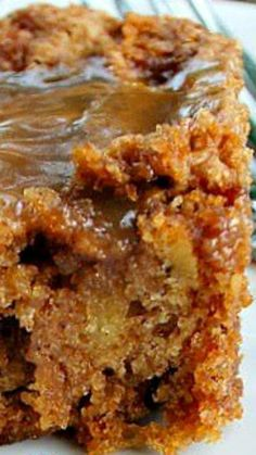 Mom's Best Apple Cake ~ Gooey delicious caramel pored over a moist apple filled cake... It's easy, fast to make and incredibly delicious. This is a keeper!