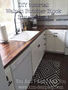DIY Home Improvement Projects On A Budget - Walnut Butcher Block Installation - Cool Home Improvement Hacks, Easy and Cheap Do It Yourself ..