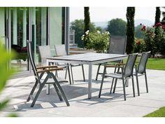 Stern Gartentisch/Tischsystem Aluminium graphit Silverstar Dekor Tundra grau 160x90 cm kaufen im borono Online Shop