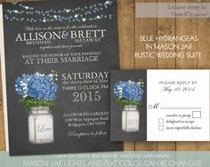 Mason Jar Wedding Invitation Suite - Rustic Hydrangeas - Country Wedding Invitations with Mason Jar & Hydrangeas | flower hue can be changed by NotedOccasions, $45.00
