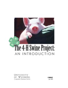 The 4-H swine project is an exciting and educational opportunity for 4-H members. It requires very little room, expense, or daily chore time. It is also a short-term project, especially when compared to the horse, beef cattle, or dairy cattle projects. Pigs are also much smaller and easier to control and handle. Click image to read more.