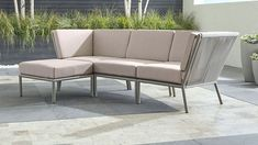 Shop Morocco Light Grey Sofa with Ottoman with Sunbrella ® Cushions. Relax outdoors in affordable modern style with our laid-back Morocco sectional collection that really knows the ropes. Patio Furniture Makeover, Patio Furniture Cushions, Backyard Furniture, Diy Outdoor Furniture, Unique Furniture, Rustic Furniture, Furniture Decor, Bedroom Furniture, Furniture Design