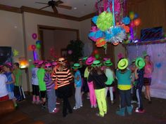 I got neon gangster hats for all of the kids to wear.  You can find them on Amazon.