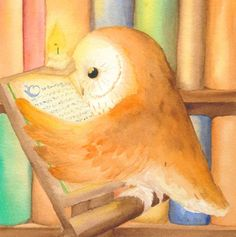 A sweet little owl reads a book in the library by candle light. Created by, Blue Hare.