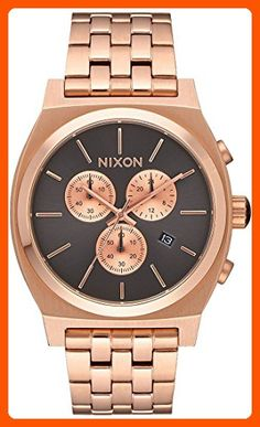 Nixon Men's 'Time Teller Chrono' Quartz Stainless Steel Casual Watch, Color:Rose Gold-Toned (Model: A9722046-00) - Mens world (*Amazon Partner-Link)